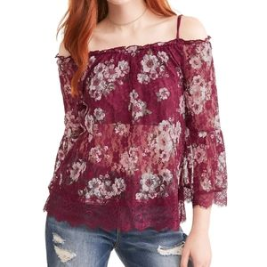 No Boundaries Maroon Lace Off the Shoulder Floral